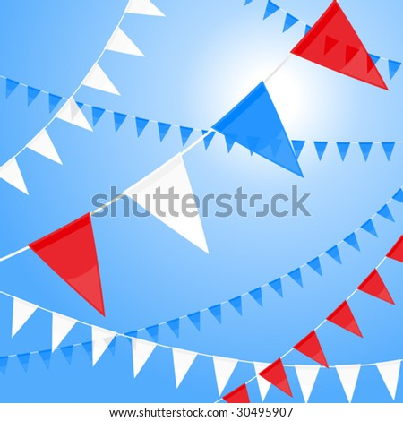 Vector pennants of red white and blue - stock vector