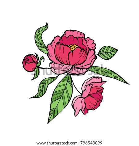 Vector Peony Coloring book page for adults. Hand drawn artwork. Love bohemia concept for wedding invitation, card, ticket, branding, logo, label. Gift for girl, women