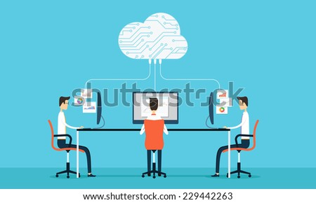 Vector people business programing develop web and application on cloud net work