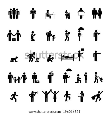 vector people icons in various