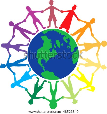 Vector people of different cultures lending a helping hand and holding hands with love and kindness.