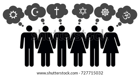 Vector people of different religions on white background - Shutterstock ID 727715032