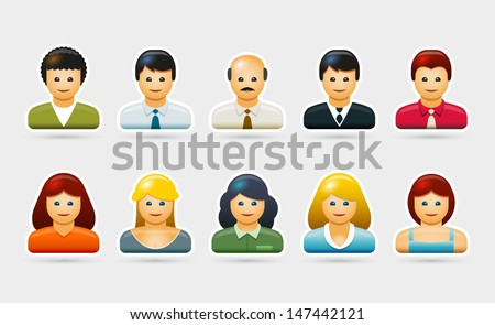 Vector people portrait symbol illustration set.