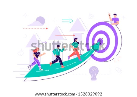 Vector. People run to their goal on the column of columns, move up motivation, the path to the target's achievement. Flat style vector illustration for web page, social media, documents, cards,posters