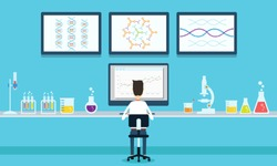 vector people scientists research in laboratory process
