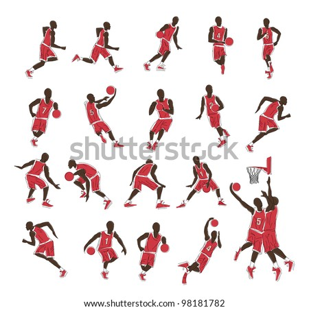 Vector people (sport players, basketball, soccer, runner)