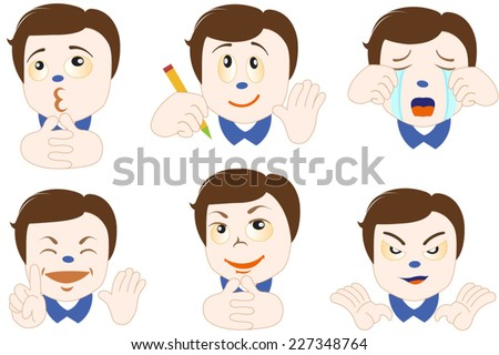 Vector people with emoticon face set