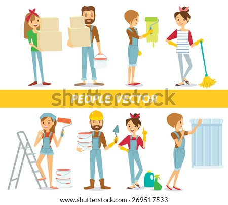 vector people with paint and