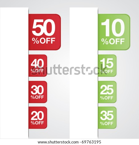Vector. Percent off tags for sales on web or print.