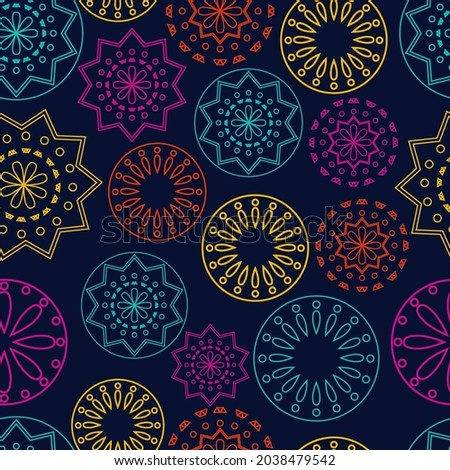 Vector. Perforated bright patterns Papel Picado pattern on a colored background. Hispanic Heritage Month. Polygonal seamless pattern for web banner, poster, cover, splash, social network.