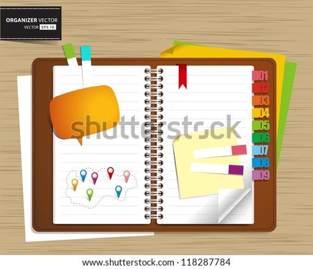 Vector personal organizer features on wood background
