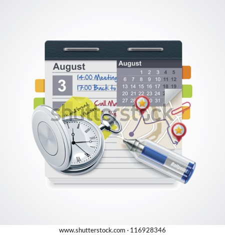 Vector personal organizer icon. Includes notepad with calendar, pocket watch, pen, sticky note and map