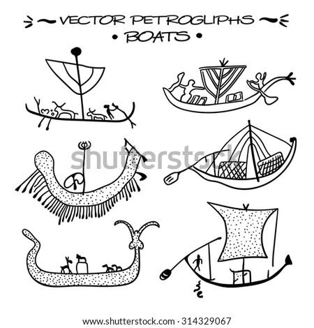 vector petroglyphs boats of
