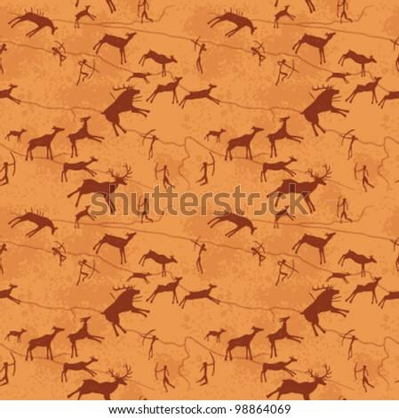 Vector petroglyphs seamless pattern