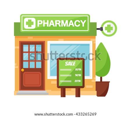 Vector pharmacy drugstore pharmacy shop design, store pharmacy shop and pharmacy shop front display design