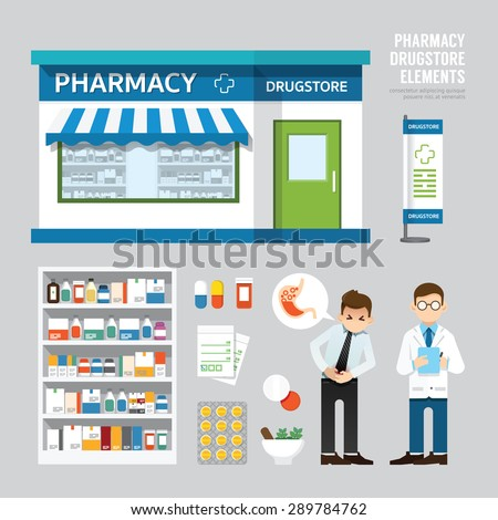 Vector pharmacy drugstore set design, shop store, package, t-shirt, cap, uniform and front display design/ layout set of corporate identity mock up template.