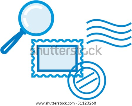 Vector philately and postal items illustration â?? post stamps and magnifying glass