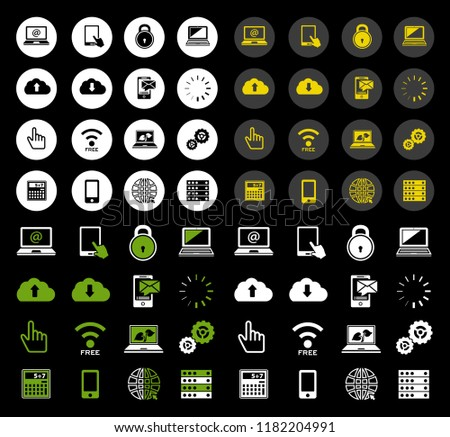 vector phone and computer icons - mobile technology illustrations - internet communication symbols