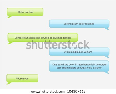 Vector phone chat bubbles in green and blue colors