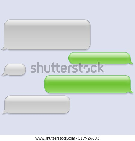 Vector phone chat bubbles. Sms messages. Speech bubbles. Short message service bubbles.