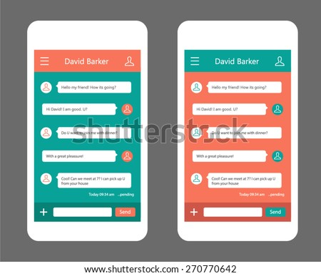 Vector phone chat interface. Sms messages. Speech bubbles. Short message service bubbles. Flat interface