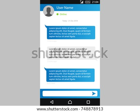 Vector phone chat interface. Sms messenger. Speech bubbles. Short message service bubbles. Flat interface