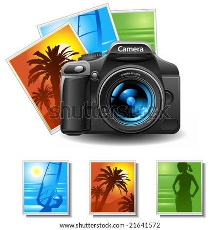 vector photo camera with 3 pictures
