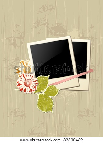 vector photo frame with flowers on a grunge background