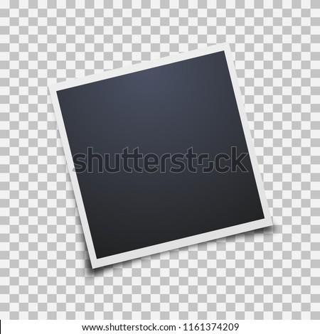 Vector Photo frames mockup design. White border on a transparent background