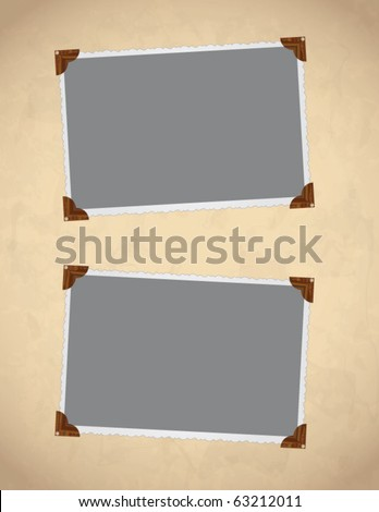 Vector photo framework on old, aged background paper. Page decoration.