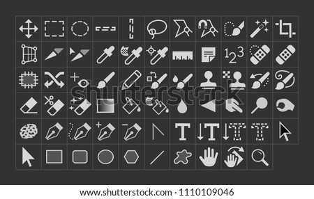 Vector Photo Manipulation Tool Icons stock photo