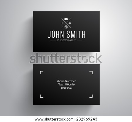 Photographer business card template download free vector art vector photographer photography business card template with hipster style design logo logotype brand flashek Images
