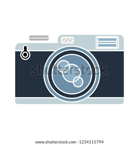 vector photography camera isolated icon - technology digital image illustration sign . photographic flash sign symbol