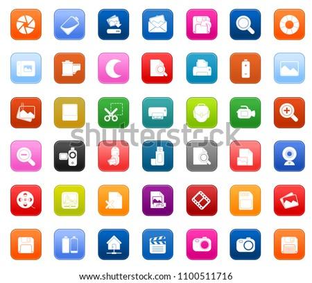 vector Photography icons set - digital photo camera equipment, digital film symbol