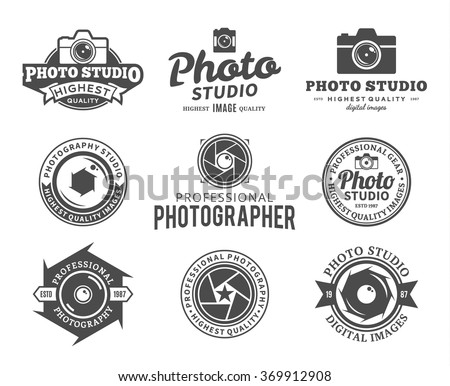 Vector photography logo. Camera shutter, photo camera and lens badges, icons and design elements.