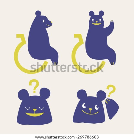 Vector Physically Handicapped Person Bear Illustration Icon Set
