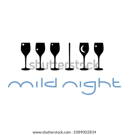 Vector piano bar logo with piano clavier formed out of wine glasses sihlouettes