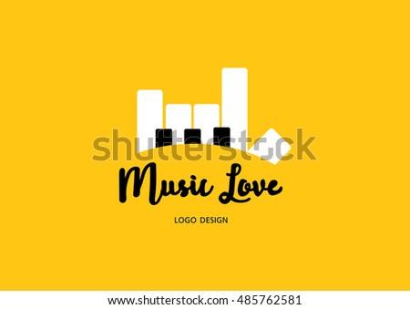 vector piano logo love music