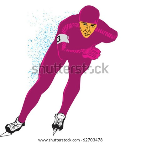 Vector pic of the speed skater