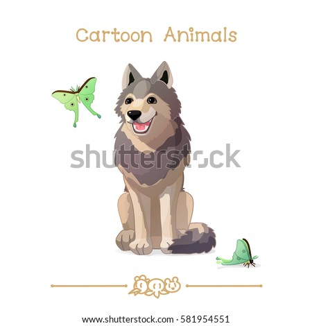 vector pic series Cartoon Animals. Amusing Animals. Wolf and butterflies. Clip art isolated on transparent background. EPS10 without mesh
