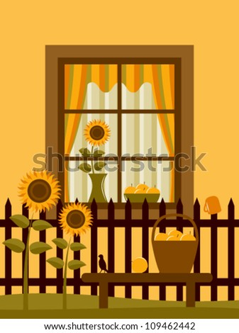 vector picket fence with sunflowers and apples in basket on bench in front of window