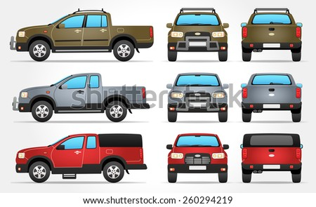 Vector Pickup Truck - Side - Front - Rear view