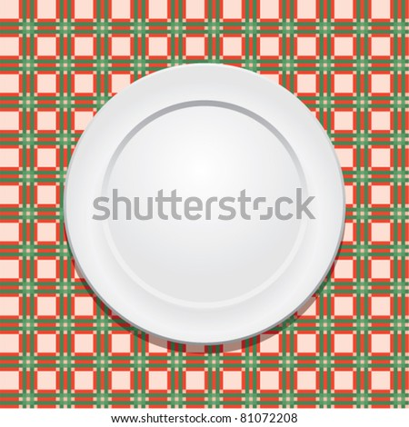 vector picnic tablecloth and empty plate - stock vector
