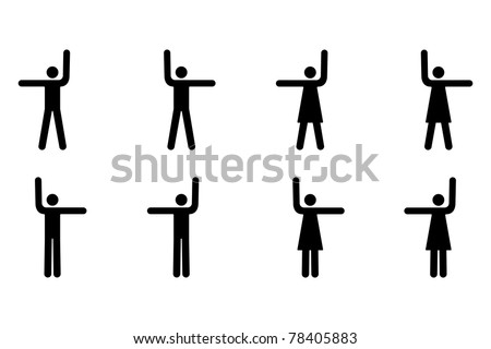 Vector Pictogram of Men and Women Pointing Up, Left and Right