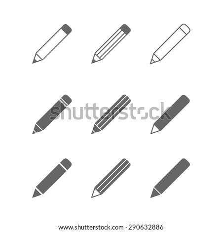 Vector pictogram Pencil icons set isolated on white.