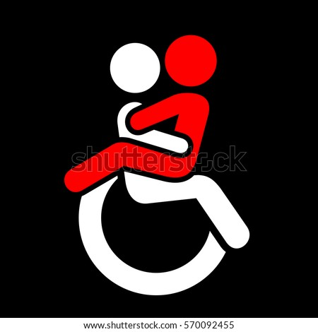 Vector pictogram - two persons are having sex on wheelchair. Sex life, sexual intercourse and physical love of handicapped, disabled and paralysed people
