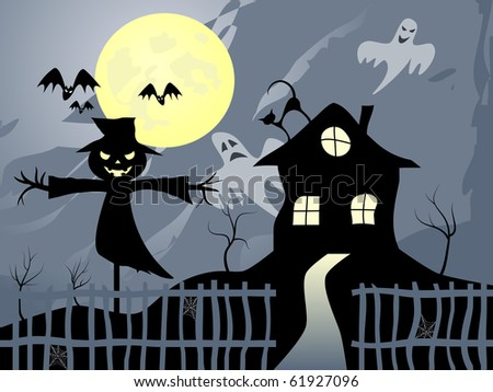 Vector picture about Halloween. Scarecrow, bats, scary house and full moon.