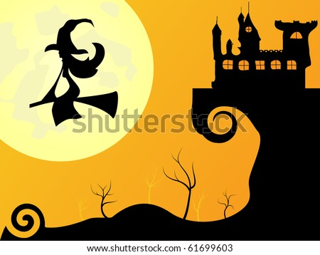Vector picture for Halloween - moon, with and castle - stock vector
