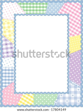 vector - Picture Frame, vertical, pastel gingham, check, polka dot quilted patchwork, blue rickrack border, copy space for baby books, albums, scrapbooks. EPS8 organized in groups for easy editing.