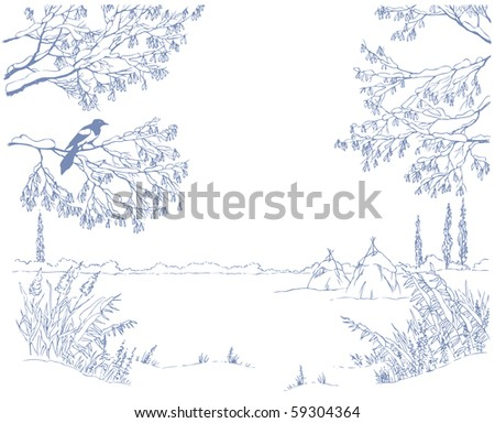 Vector picture-framing. A linear sketch the landscape of a winter field through the snow-covered branches of trees and shrubs - stock vector